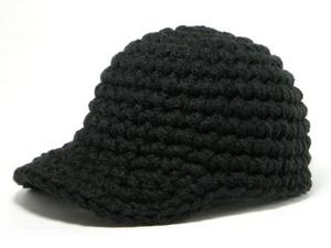 ブラックモコモコニットキャップA