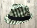 グリーンギンガム中折れ帽子