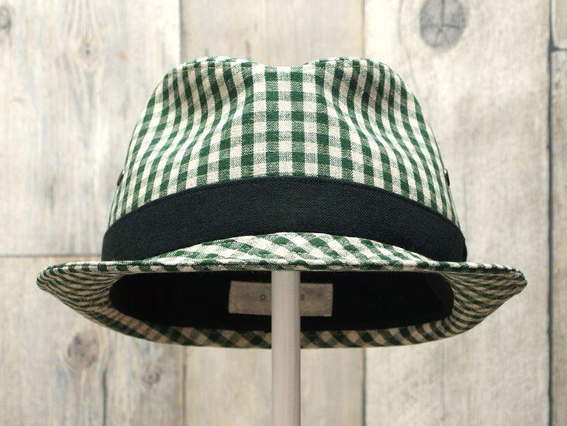 グリーンギンガム中折れ帽子2