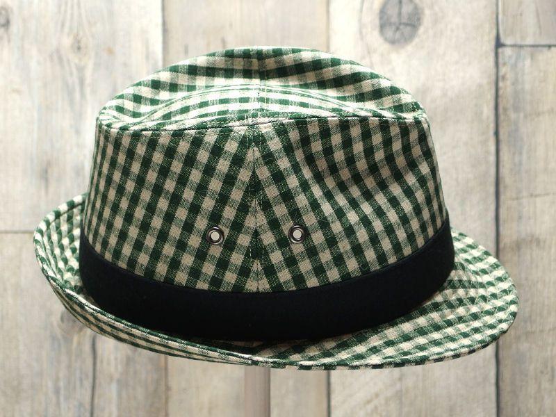 グリーンギンガム中折れ帽子3