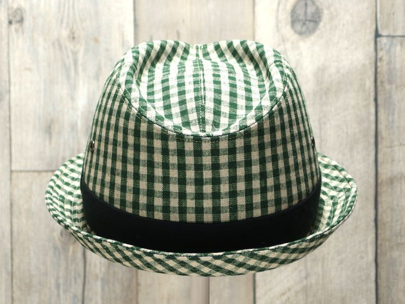 グリーンギンガム中折れ帽子4