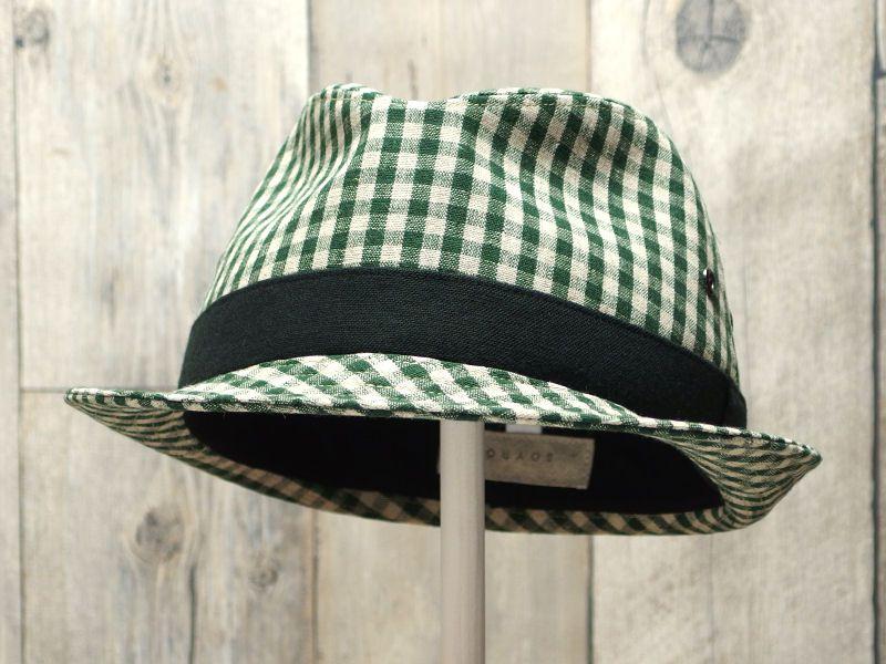 グリーンギンガム中折れ帽子5