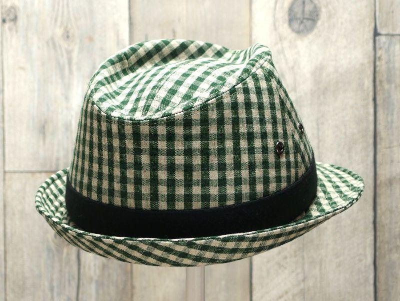 グリーンギンガム中折れ帽子6