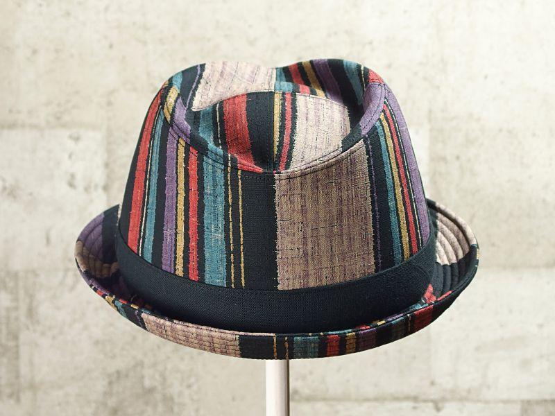 マルチストライプ中折れ帽子3