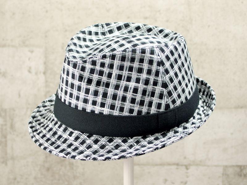 フリーハンドチェック風中折れ帽子