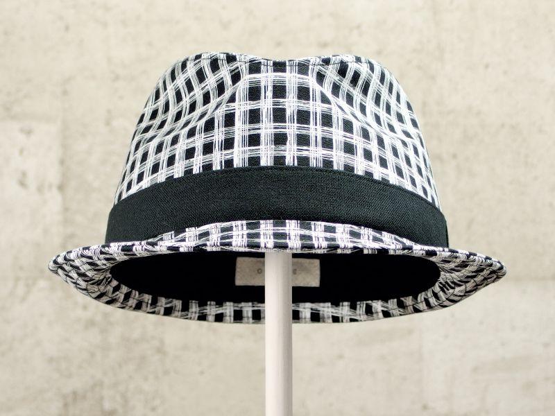 フリーハンドチェック風中折れ帽子2