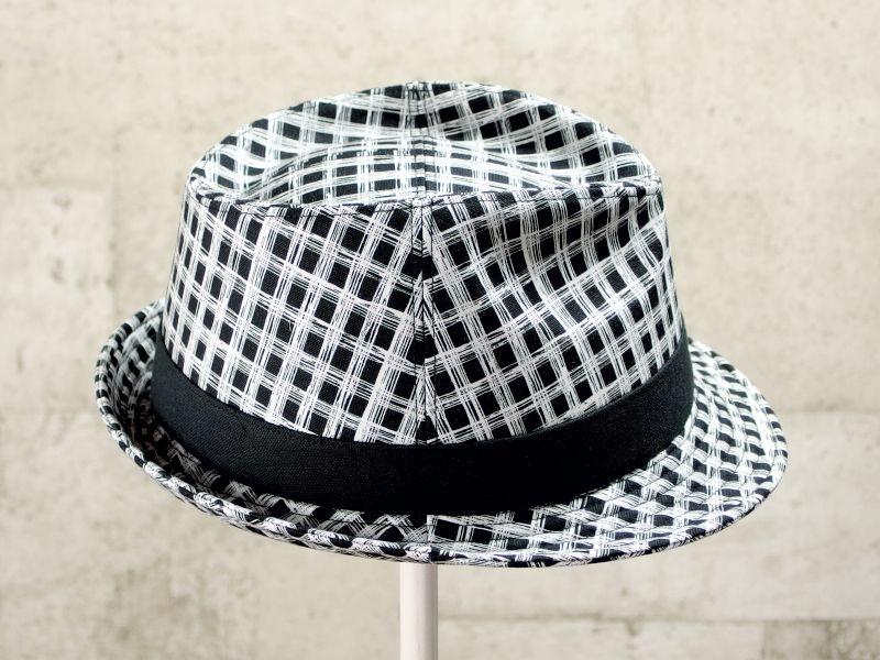 フリーハンドチェック風中折れ帽子4