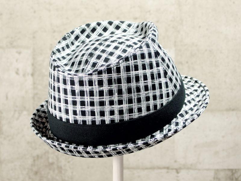 フリーハンドチェック風中折れ帽子7