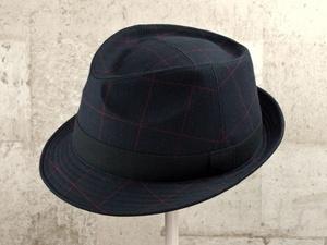 ブラックチェック中折れ帽子
