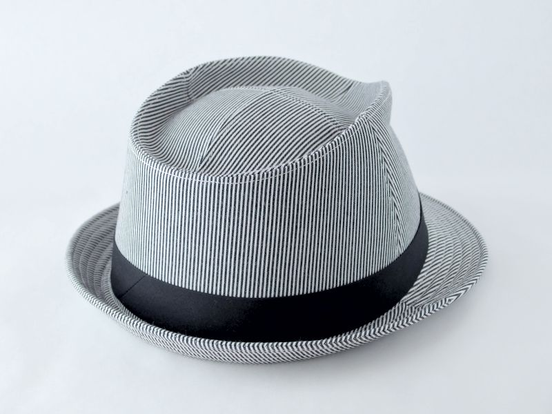 シンプルストライプ中折れ帽子2