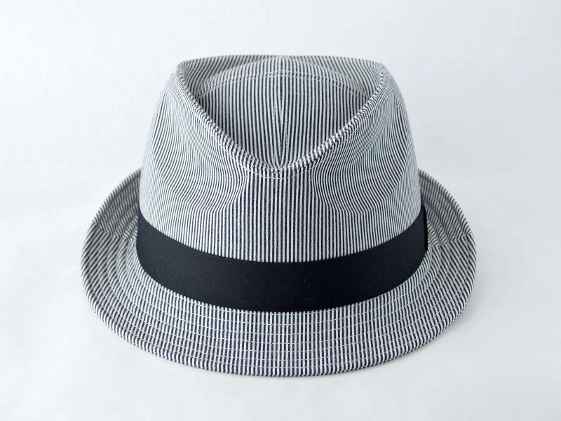 シンプルストライプ中折れ帽子3