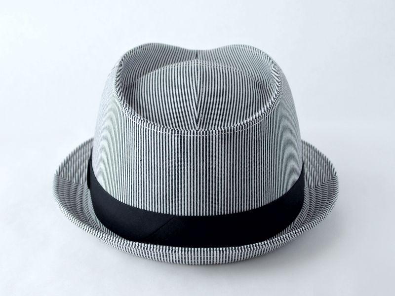 シンプルストライプ中折れ帽子4