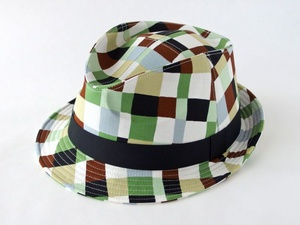 フリーハンドチェック中折れ帽子