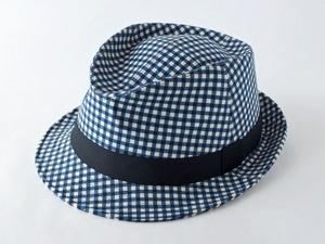 ブルーギンガムチェック中折れ帽子