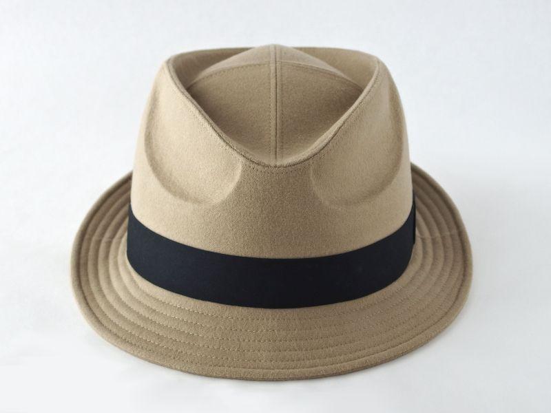 起毛ベージュ中折れ帽子3