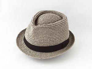 コーヒ染めペーパーヤーン中折れ帽子