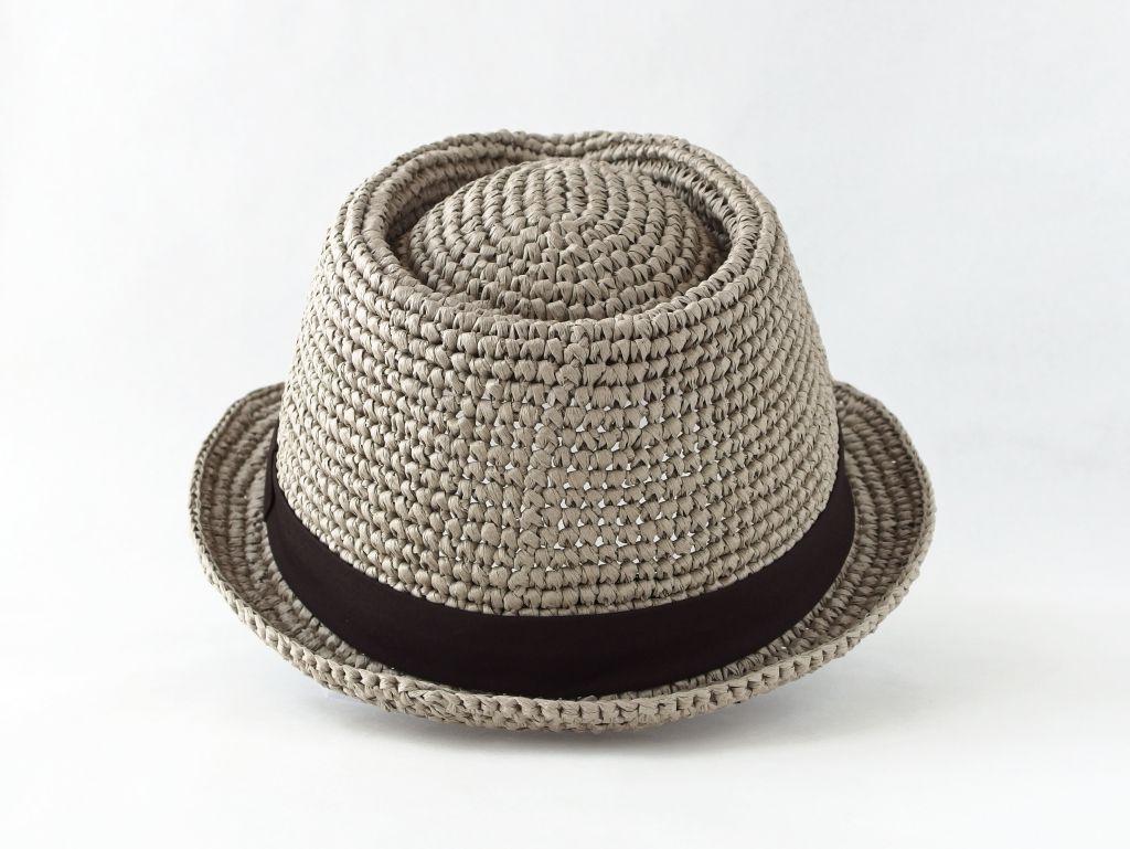 コーヒ染めペーパーヤーン中折れ帽子3