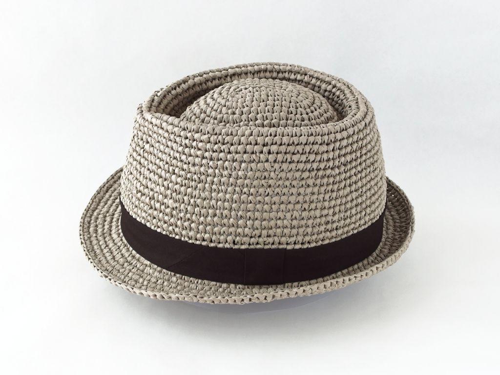コーヒ染めペーパーヤーン中折れ帽子4