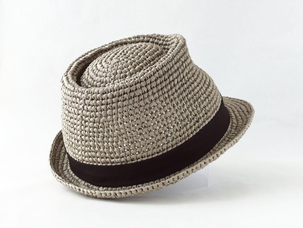 コーヒ染めペーパーヤーン中折れ帽子6