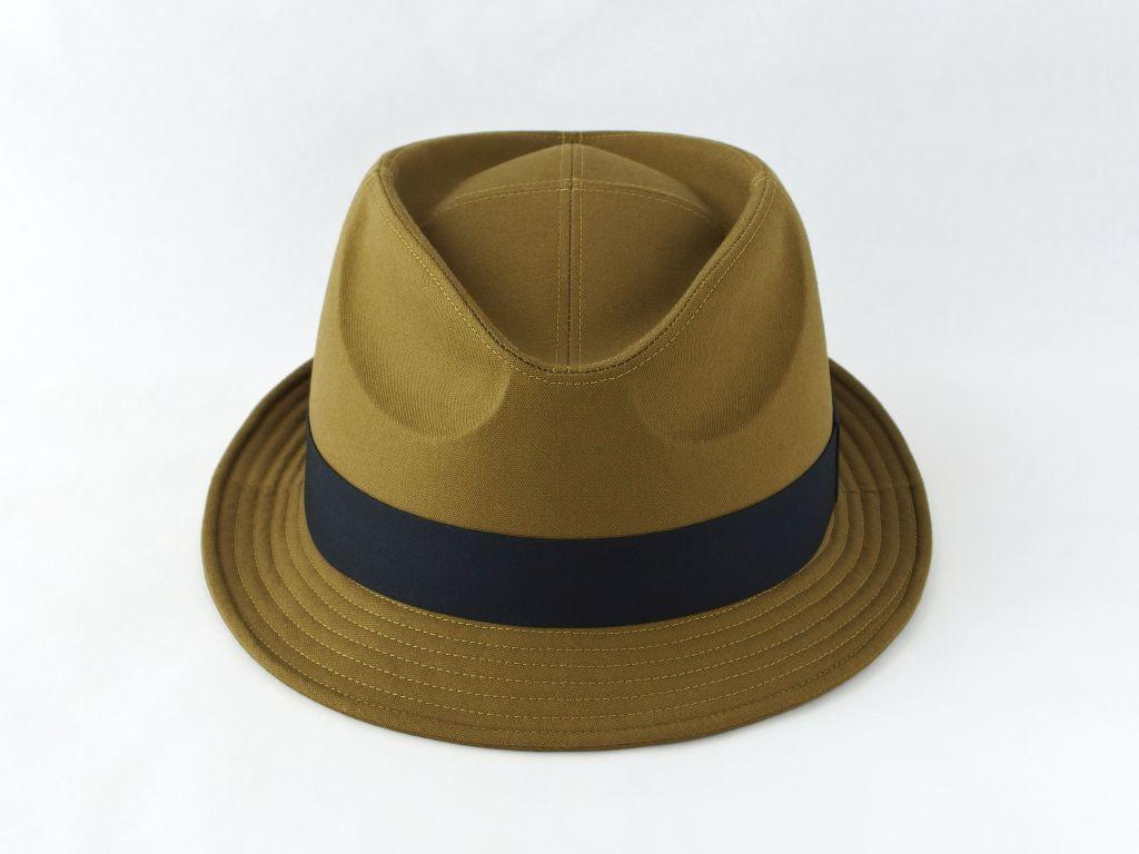 ライトオリーブ中折れ帽子2